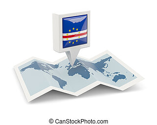 Square pin with flag of cape verde on the map