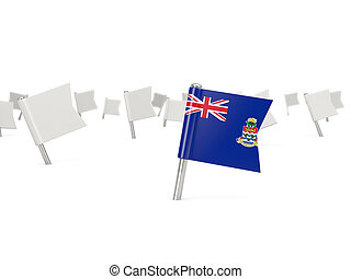 Square pin with flag of cayman islands