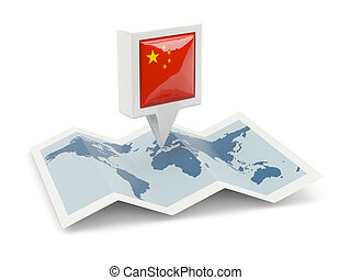 Square pin with flag of china on the map
