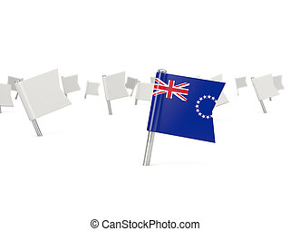 Square pin with flag of cook islands isolated on white