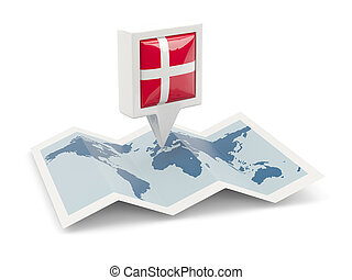 Square pin with flag of denmark on the map