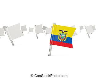 Square pin with flag of ecuador