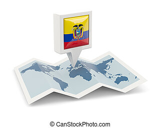 Square pin with flag of ecuador on the map