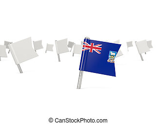 Square pin with flag of falkland islands