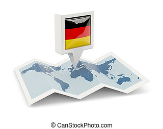 Square pin with flag of germany on the map