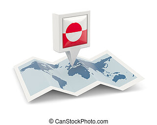 Square pin with flag of greenland on the map