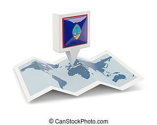 Square pin with flag of guam on the map