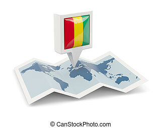 Square pin with flag of guinea on the map