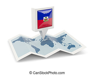Square pin with flag of haiti on the map