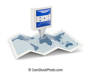 Square pin with flag of honduras on the map