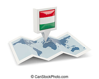 Square pin with flag of hungary on the map