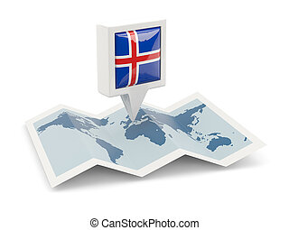 Square pin with flag of iceland on the map