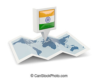 Square pin with flag of india on the map