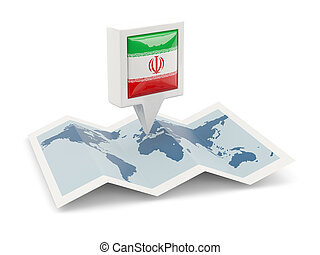 Square pin with flag of iran on the map