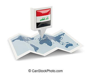 Square pin with flag of iraq on the map