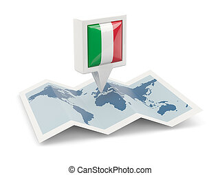 Square pin with flag of italy on the map