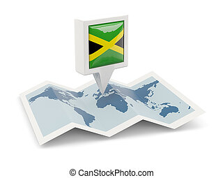 Square pin with flag of jamaica on the map