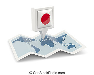 Square pin with flag of japan on the map