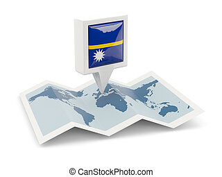 Square pin with flag of nauru on the map