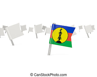 Square pin with flag of new caledonia