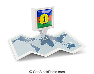 Square pin with flag of new caledonia on the map