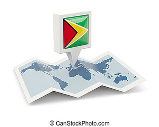 Square pin with flag of on the map