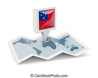Square pin with flag of samoa on the map