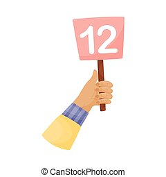 Square plate with the number 12 in hand. Vector illustration on a white background.