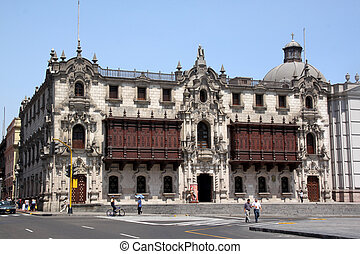 Square Plaza-de-Armas in center of Lima, Peru