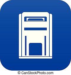 Square post box icon digital blue
