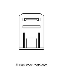 Square post box icon, outline style