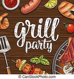 Square poster with bbq. Grill party calligraphic handwriting lettering.