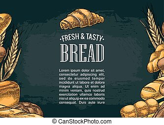 Square poster with bread. Vector color vintage engraving illustration