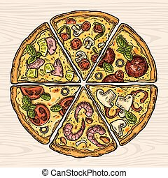 Square poster with monochrome and colorful slice pizza