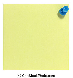 Square postit with blue pin