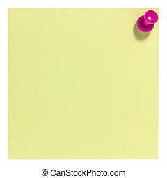 Square postit with pink pin
