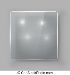 Square protective glass plate vector template.