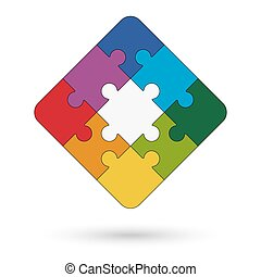 square puzzle with center and colored options for teamwork...