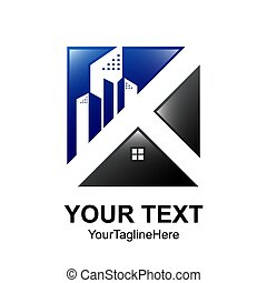 Square Real estate logo designs for business visual identity. Houses and building construction architecture.