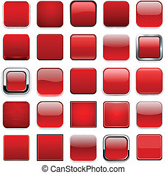 Square red app icons. - Set of blank red square buttons for...