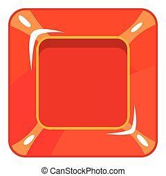 Square red button icon, cartoon style