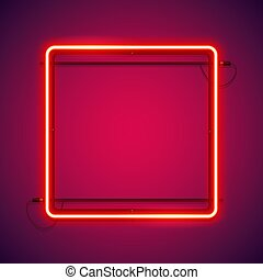 Square Red Neon Frame