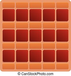 Square red paving icon, cartoon style