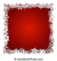 Square red snowflake background