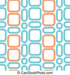 Square retro pattern blue orange