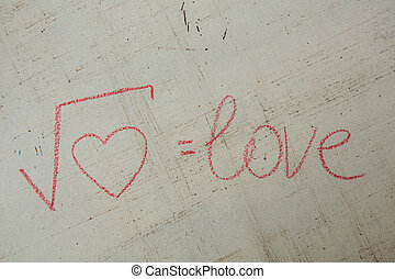 Square root of heart on white. Handwritten love formula....