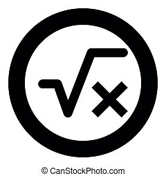 Square root of x axis icon black color vector illustration simple image