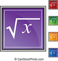 Square Root web button isolated on a background.