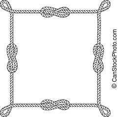 Square rope frame with knots and loops