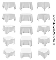 Square rounded tablecloth set - White square rounded...